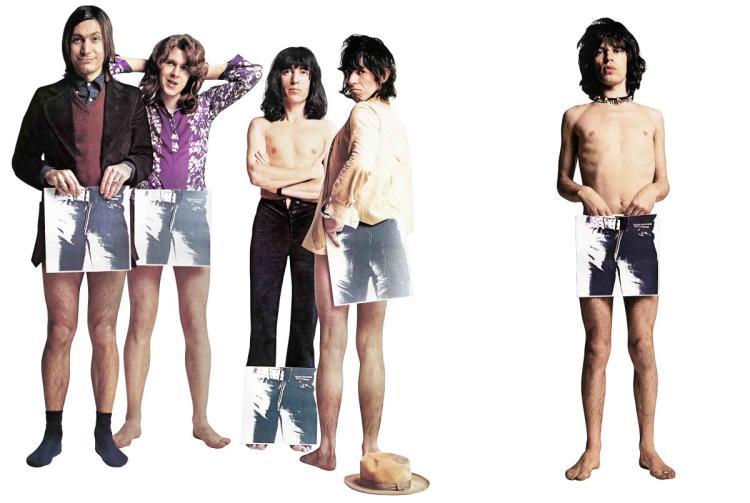 Imagen de Sus Majestades los Rolling Stones posando con el Sticky Fingers.